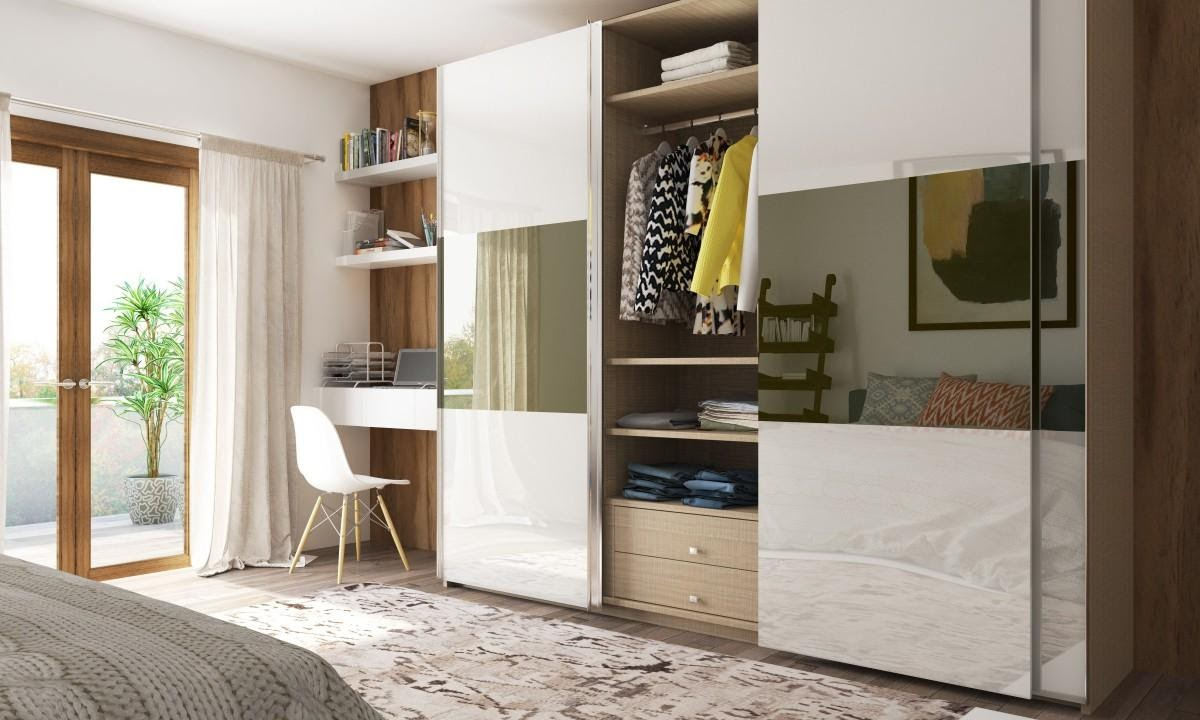 modern sliding wardrobe with buil in desk