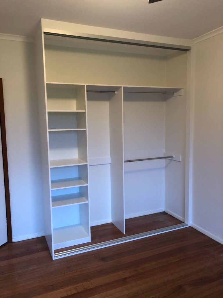 built in wardrobes in white melamine in Laverton