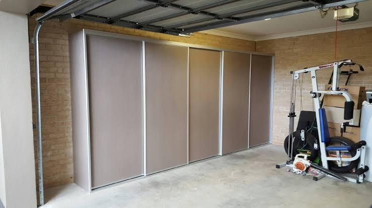 sliding door garage cupboards