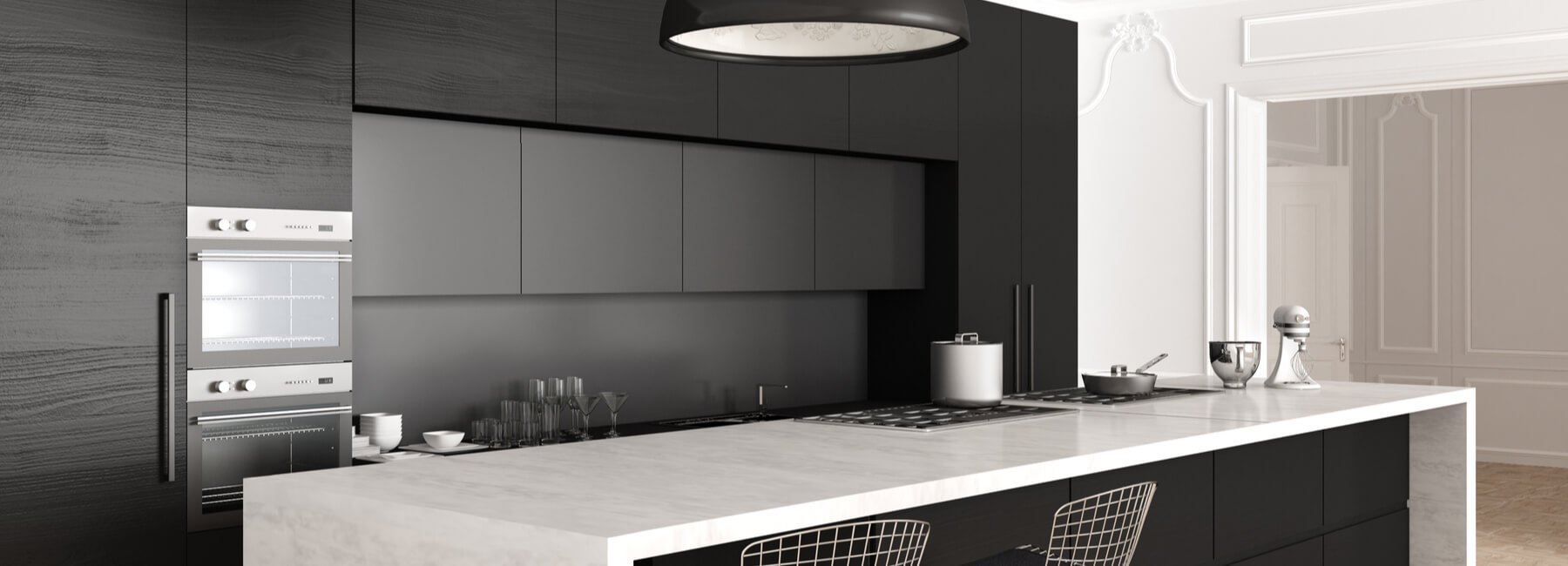 black grey white custom kitchen