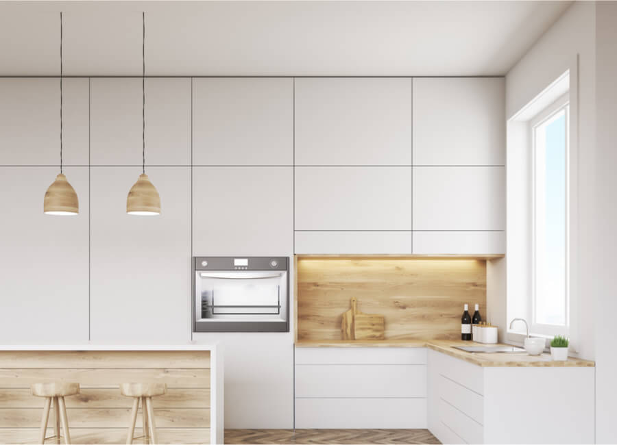 white and timber kitchen