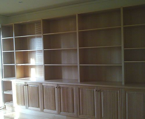 Custom made wall to wall bookcase