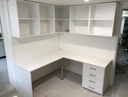 Desk and Bookcase completed in white melamine