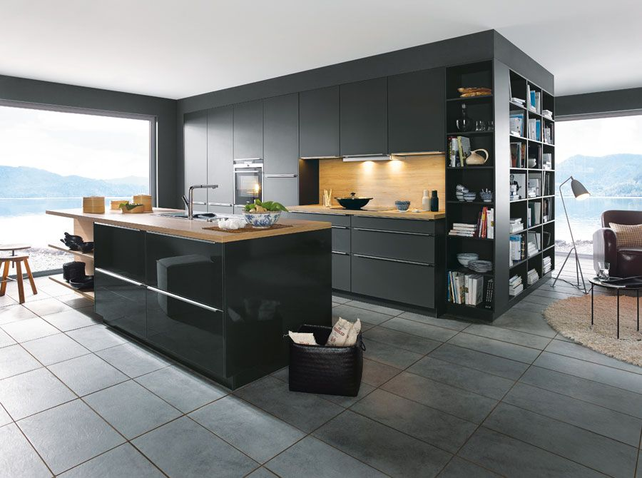 Matt Black and timber veneer modern kitchen