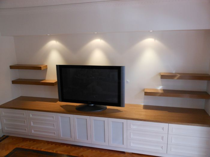 TV Unit with timber top and floating shelves