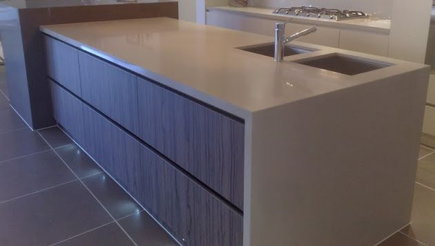 White caeserstone benchtop with waterfall