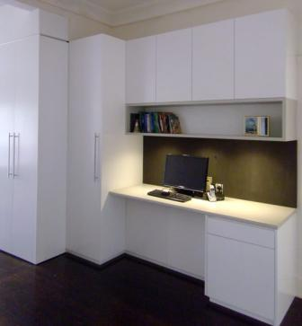 custom made study area in kitchen