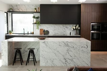 modern kitchen with stone, veneers and fingerprintless cabinets